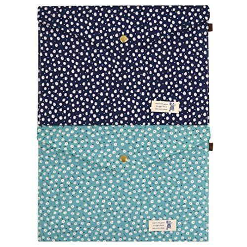 (2 Pcs Floral Print Envelope File Holder Magnetic Snap A4 Document Pouch File Holder Filing Envelope)