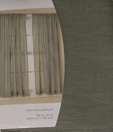 Green Curtains amazon green curtains : Amazon.com: Home Linen Cotton Blend Window Panel Pair Green ...