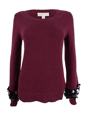 3e3c1c90b91 MICHAEL Michael Kors Womens Sequin-Cuff Long Sleeves Crewneck Sweater Red XS