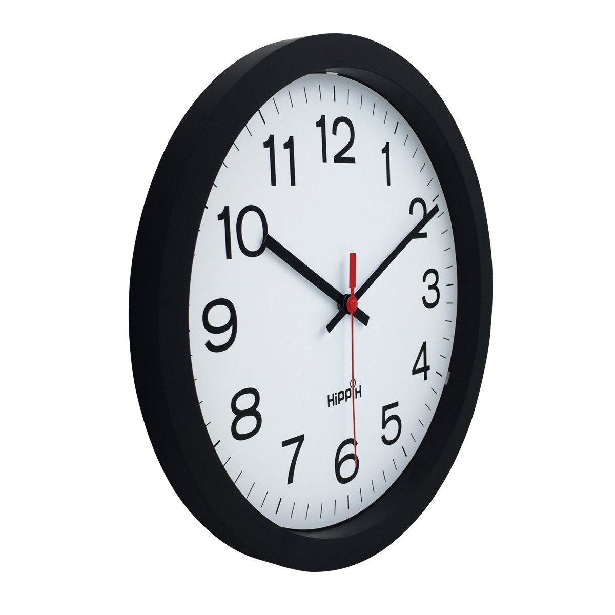 Yoobure 12 Silent Quartz Decorative Wall Clock Non-Ticking Digital Plastic Battery Operated Round Easy to Read Home//Office//School Black Clock AX-AY-ABHI-122048
