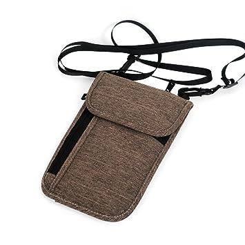Etbotu - Cartera portátil para pasaporte de viaje, para colgar en el cuello, multifunción