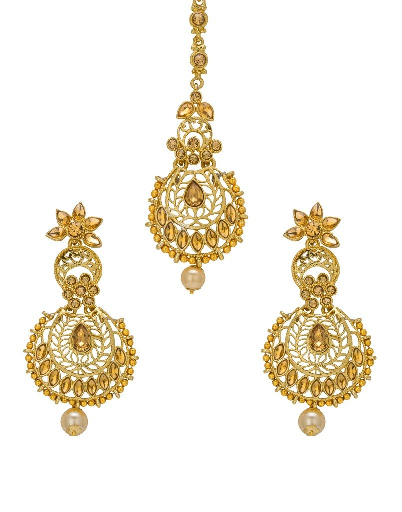 Bindhani Wedding Indian Head Jewelry Bridal Earrings Maang Tikka Mang Tika For Women