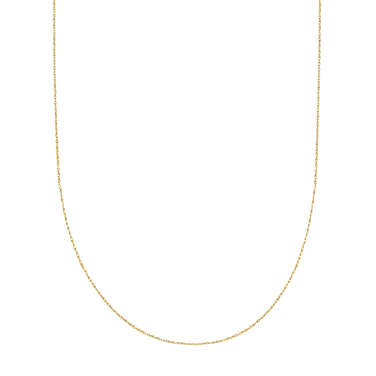 14K Solid Yellow Gold Sturdy Pendant Rope Chain Necklace 18 0.9mm Ritastephens