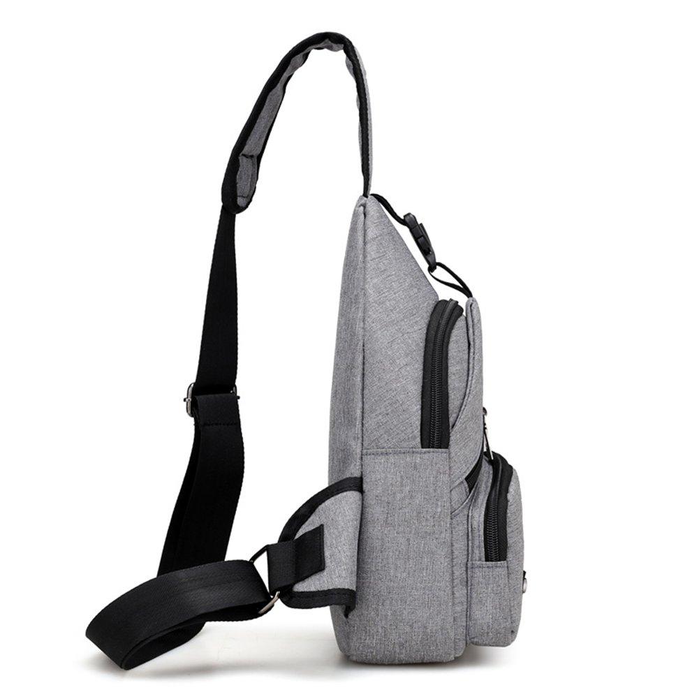 mochila con puerto USB bolsa al pecho multifuncional mochila de hombro bolsa bandolera Bolso bandolera hombre Fletion
