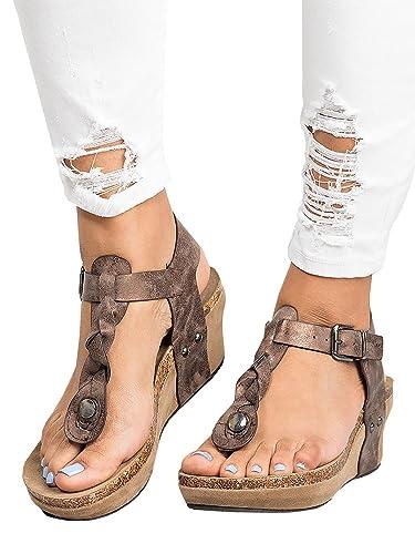 Pxmoda Damen Boho Geflochtene Keil Sandalen Casual T Strap Keilabsatz Sandale Schuhe