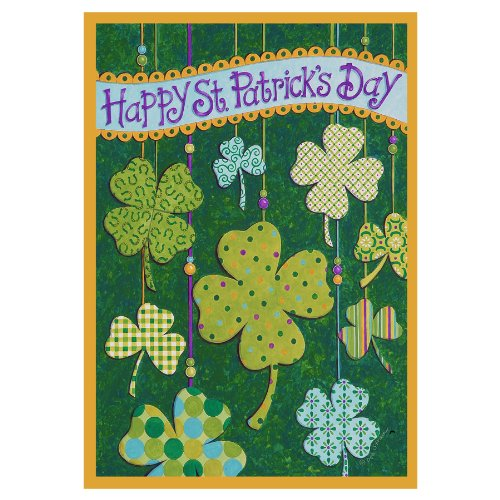 Patricks Garden Flag Floating Shamrocks