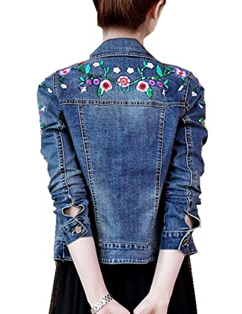 b1690c7cf5 Womens Denim Jacket Embroidered Floral Jean Jacket