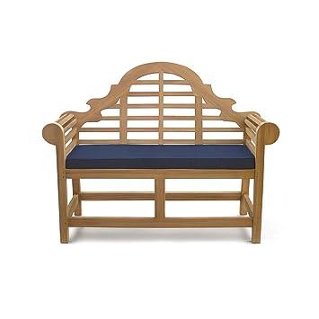 Lutyens Teak FULLY ASSEMBLED Garden Bench Seat .m with Blue