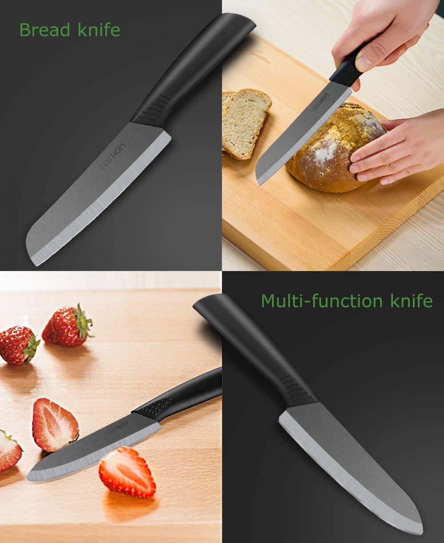 GEEKHOM Cuchillos de Cocina, Juego de Cuchillos de Cerámica, Chef Set para Cortar Verduras Fruta, 3 Piezas (2 x Cuchillos, 1 x pelador, Negro)