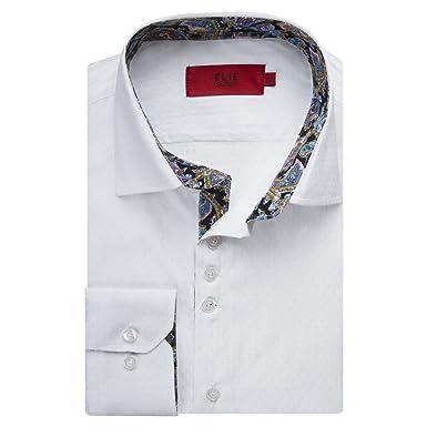 c28d8b19a Elie Balleh Men's EBSH159 Slim Fit Cotton Textured Dress Shirt - White - M