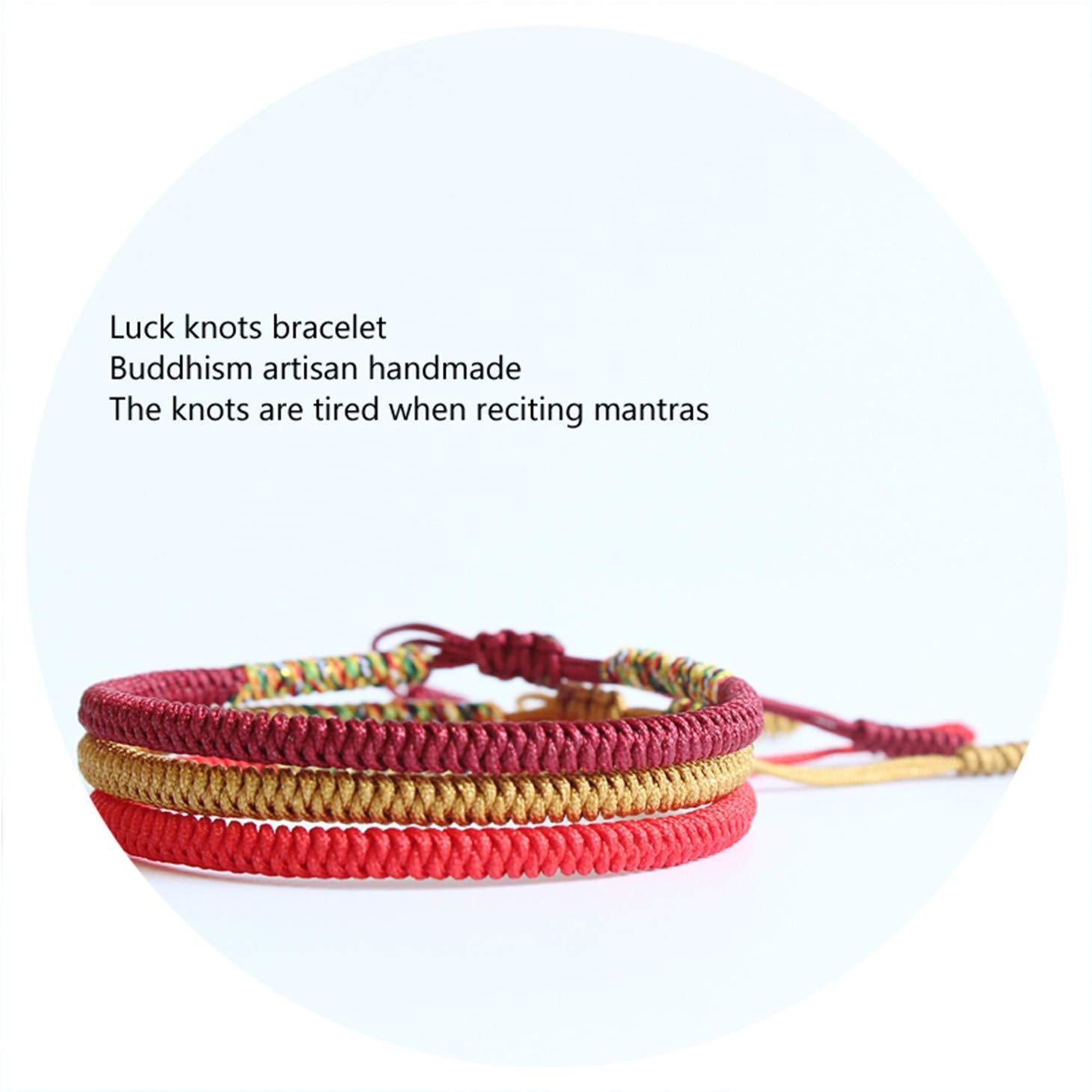 Olive Tayl 3PCS Multi Color Tibetan Buddhist Good Lucky Charm Tibetan Bracelets & Bangles for Women Men Handma by Olive Tayl (Image #3)