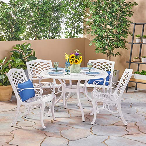 Christopher Knight Home Phoenix Traditional Outdoor 4 Seater Round Cast Aluminum Dining Set by (Traditional Cast)