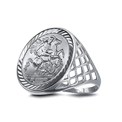 Hallmarked Gents Sterling Silver 925 St George Half Sovereign Size Coin Ring N//Z