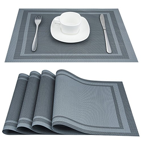 Placemats, ARTAND Heat-resistant Placemats Stain Resistant Anti-skid Washable PVC Table Mats Woven Vinyl Placemats, Set of 4 (Silver (Woven Top Dining Table)