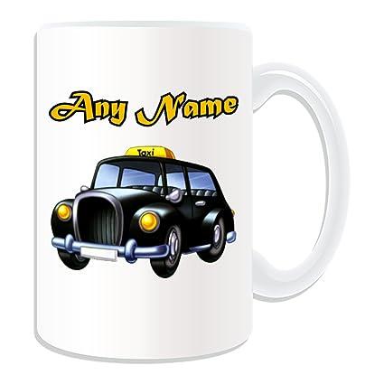 Personalizado regalo - gran Taxi negro taza (diseño de transporte tema, blanco) - cualquier nombre/mensaje en su único - Taxi de Londres Hackney transporte ...