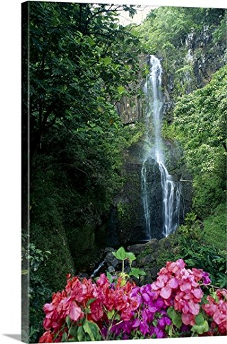 Hawaii Waterfall (Dave Fleetham Premium Thick-Wrap Canvas Wall Art Print entitled Hawaii, Maui, Wailua Waterfall And Rainforest 32