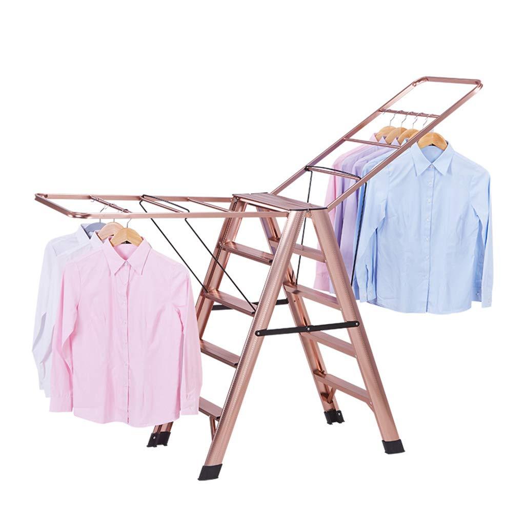 衣類ハンガー 乾燥ラック多機能ラダー 家庭用折りたたみ二重使用アルミニウム合金乾燥ラック バルコニー屋内折りたたみクールハンガーフロア乾燥ラック 衣類ハンガー (Color : Pink, Size : 85*50*98cm) B07KTWQXSM Pink 85*50*98cm