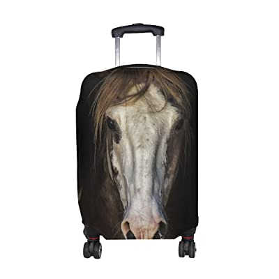Animal Horse Blackandwhite Pattern Print Travel Luggage Protector Baggage Suitcase Cover Fits 18-21 Inch Luggage