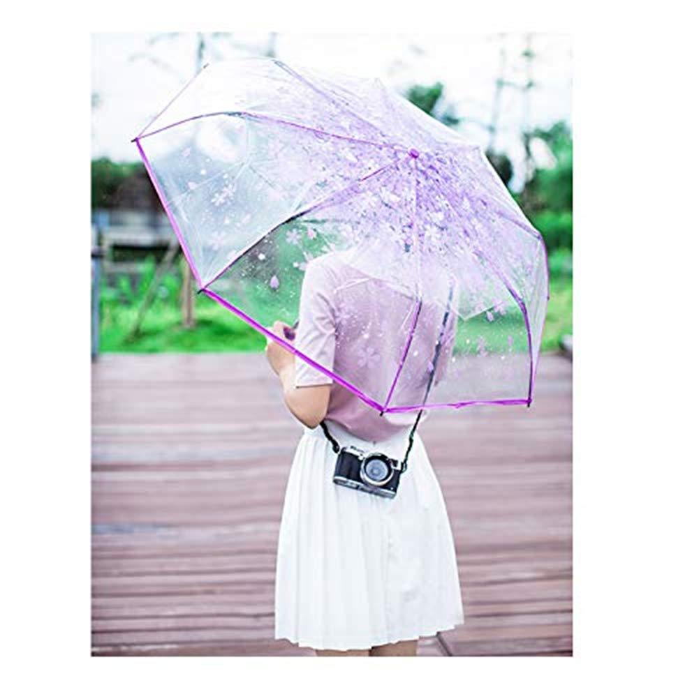 Bleu 90 cm Milopon Parapluie de Poche Semi-Automatique pour Femme et Fille Motif Fleurs de Cerisier Transparent