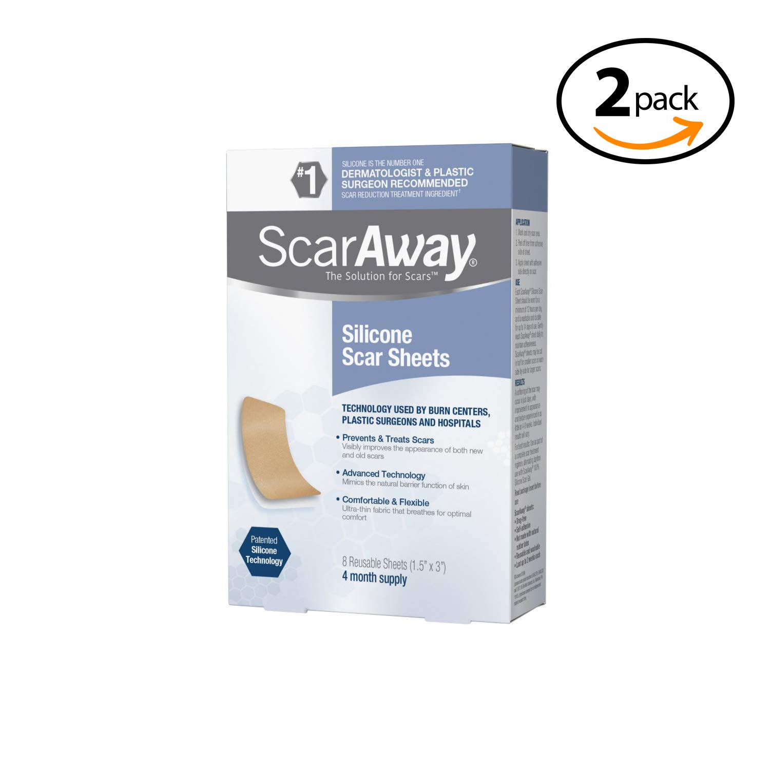 Professional Grade Silicone Scar Treatment Sheets, Prevents & Treats Old and New Scars, 8 Count 2-Pack by ScarAway