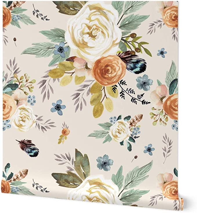 Ships from USA Boho Watercolour Botanical Sample or Order by the Roll Forest Green Roses Floral Wallpaper Peel /& Stick for Decor Crafts
