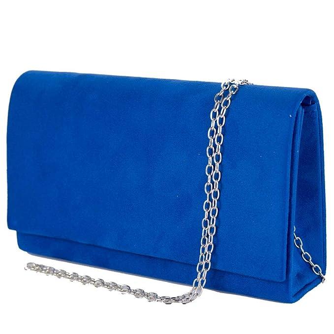 049008dcff Emila Borsa a mano blu elettrico elegante da donna cerimonia piccola  pochette in tessuto scamosciato clutch matrimonio primavera estate 2019 con  tracolla in ...