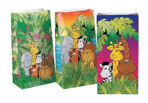 Fun Express Jungle Birthday Party Loot Gift Paper Sacks Bags Lion Zebra Giraffe Monkey Tiger Elephant Novelty