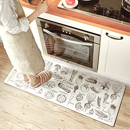 """- Ustide Classic Anti-Fatigue Kitchen Comfort Chef Floor Mat, 17.7x70.9"""", Linen Cardinal Stain Resistant Surface with 1.4cm Thickness Gel Core for Health and Wellness"""