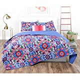 3 Piece Girls Medallion Floral Pattern Quilt Set Full/Queen Size, Beautiful Flowers Boho Chic Print, Hippy Indie Style, Special Digital Printing, Reverse Bedding, Charming Colors Blue Purple Pink