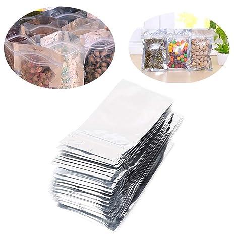 LAIZETONGXUN 50 Bolsas de lámina de Plata de 7x13cm Bolsas ...