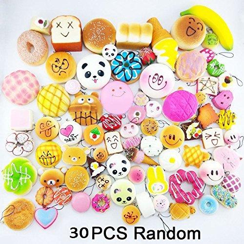 Random 30pcs Jumbo Medium Mini Soft Squishy Cake/Panda/Bread/Buns Phone Straps b…
