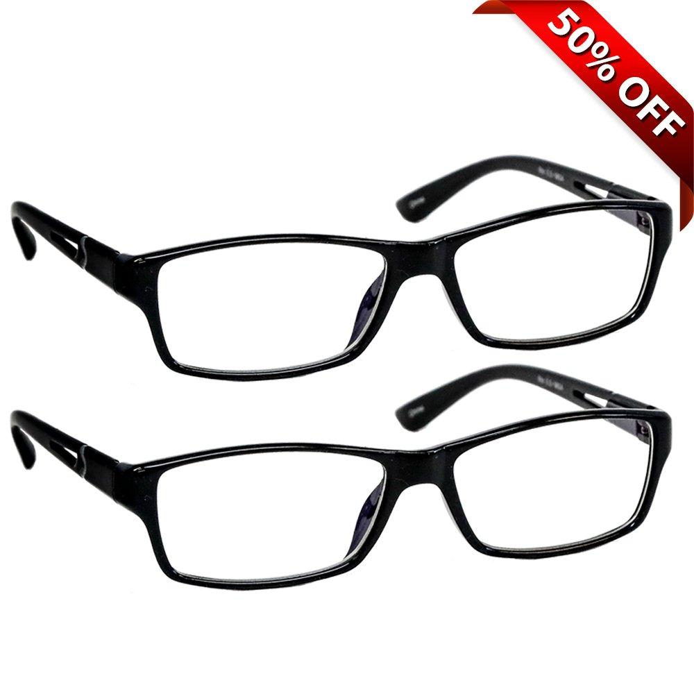 f483bcf96e7 Amazon.com  Black Computer Reading Glasses 1.50   Protect Your Eyes Against Eye  Strain