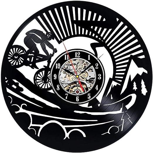 wwwff Reloj de Pared de Vinilo para Bicicleta de montaña Diseño Moderno Ciclismo Ciclismo Deporte Reloj de Registro de Vinilo Reloj de Pared Decoración para el hogar Regalos para Moteros: Amazon.es: Hogar