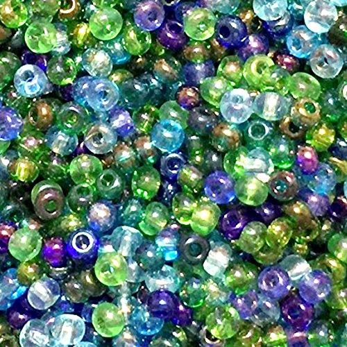 (Czech Seed Beads 6/0 ''Atlantis Lagoon'' Mix Greens, Aquas & Blues (1)