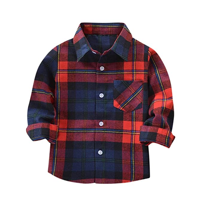 3af25e53 KaloryWee Baby Checked Shirt, Kids Boys Girls Long Sleeve Cotton T Shirt  Checks Tops Blouse Clothes Outfits: Amazon.co.uk: Clothing