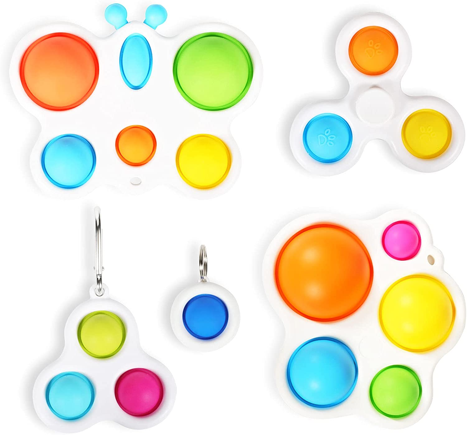 Arme Simple Dimple Sensory Fidget Blocks,A Simple Dimple Fidget Toy Set ,Mini Simple dimple Toy Suit Easy to Use,Easy to Carry Stress and Anxiety Relief Handheld Toys Set for Kids and Adults(5Pcs)