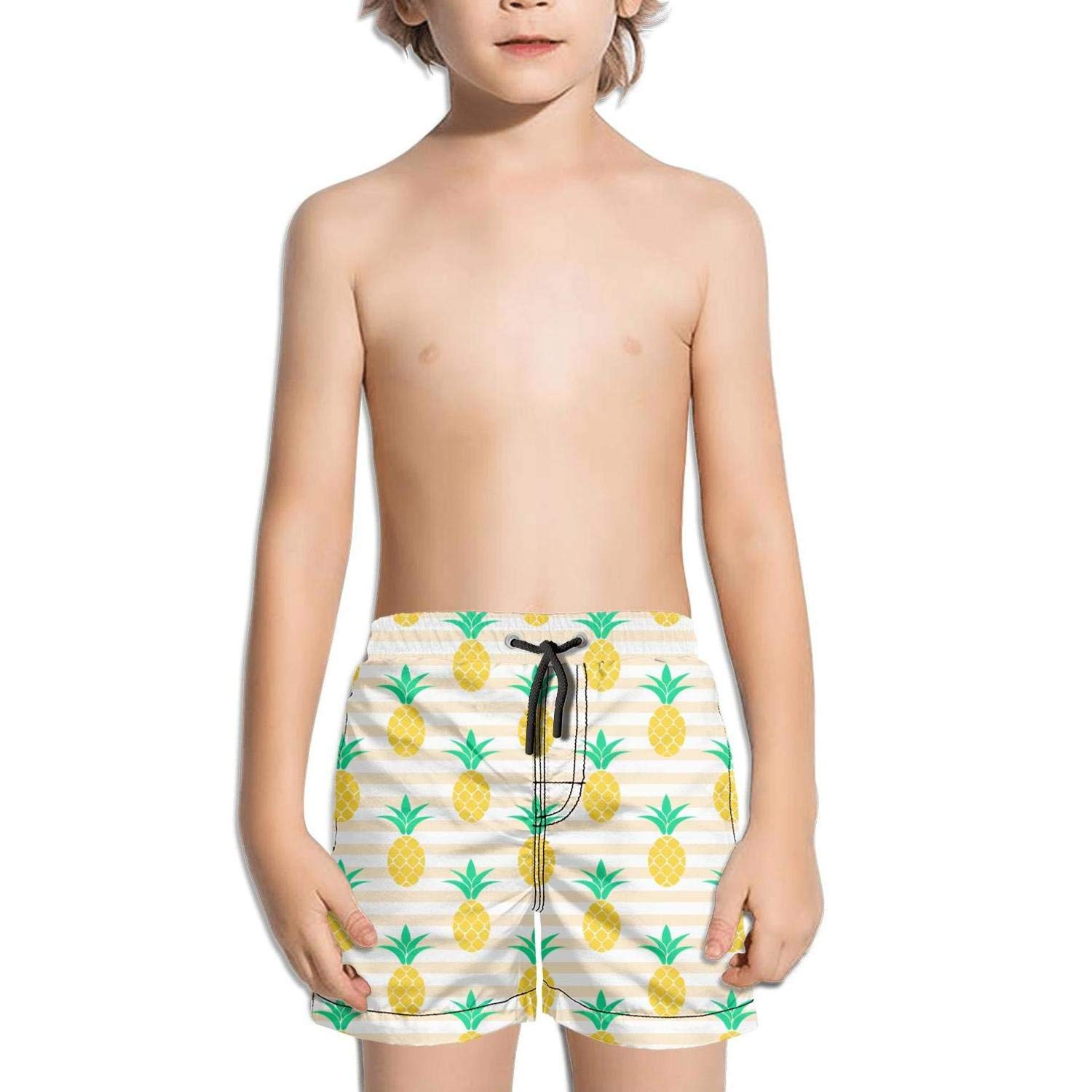 NAIT.2 Shorts Swim for Kid Quick Dry Solid Board Sporty Swim Colorful Tropical be Pineapple