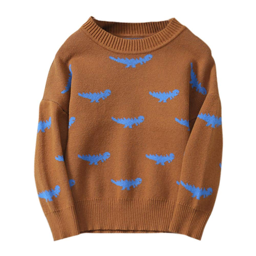 Jchen(TM) Clearance Boys Girls Baby Kids Dinosaur Sweaters Soft Warm Children's Sweater Tops for 1-5 Y (Age: 0-12 Months, Brown)