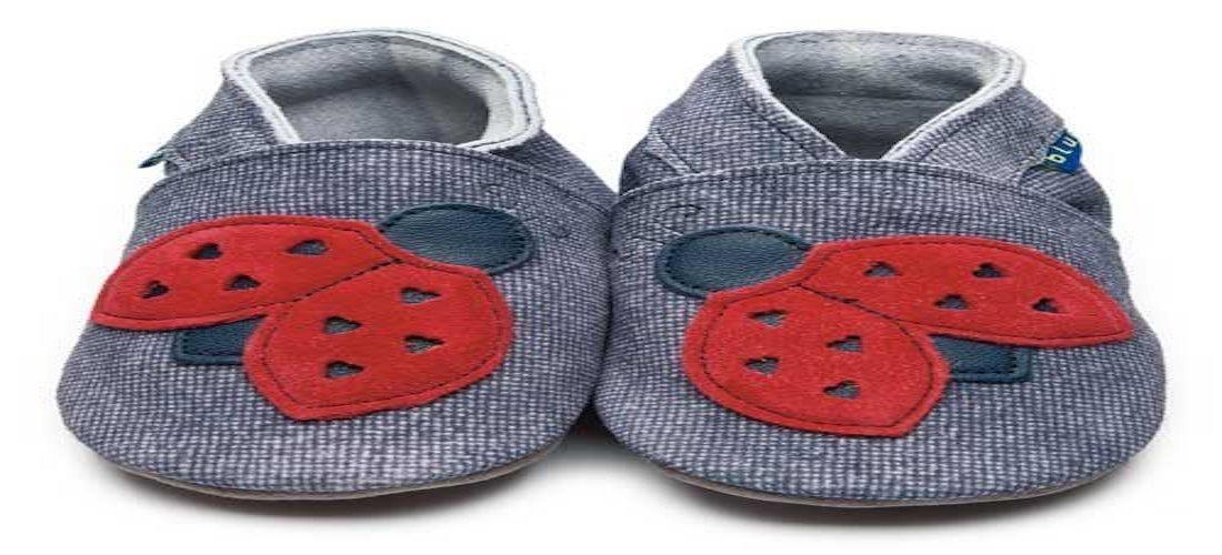 Zapatos Inch Blue Mariquita de cuero blando en Denim y Rojo (en caja de regalo) - 12-18m: Amazon.es: Bebé