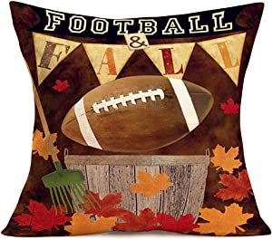 """Hopyeer AmericanFootball&Fall Vintage Pillow Case Decor Autumn MapleLeaves FarmToolswith Words Design Cotton Linen Throw Pillow Covers for Couch Bedroom Car Cushion Covers 18""""x18"""" (AF-Ball)"""