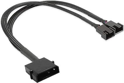PK OF 2 MALE 4 PIN FAN POWER CONNECTOR BLACK INC PINS