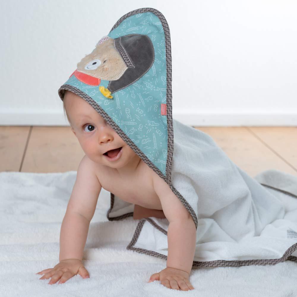 Badetuch Badehandtuch Bade-Poncho Kinder-Badetuch mit Kapuze Junge Monkey Donkey Kapuzenhandtuch f/ür Baby /& Kinder 80x80 cm FEHN Affe Kapuzenbadetuch mit Namen bestickt