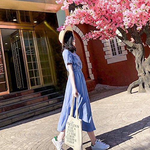 2018 et Chemise Jupe Ancienne Robe L MiGMV Jupe Coton Blue Une Minimaliste Robes Jupe Lin Longue 07ptqa
