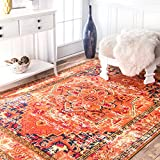 Traditional Flower Medallion Orange Area Rugs, 7 Feet 10 Inches By 11 Feet (7′ 10″ x 11′) Review