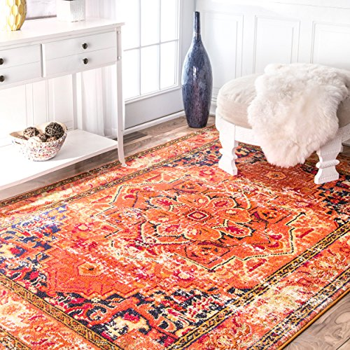 Traditional Flower Medallion Orange Area Rugs, 5 Feet 3 Inches By 7 Feet 7 Inches (5' 3