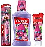 Colgate Trolls Poppy Kids Toothbrush & Mouthwash Bundle: 3 Items – Powered Toothbrush, Mild Bubble Fruit Toothpaste, Bubble Fruit Mouthwash For Sale