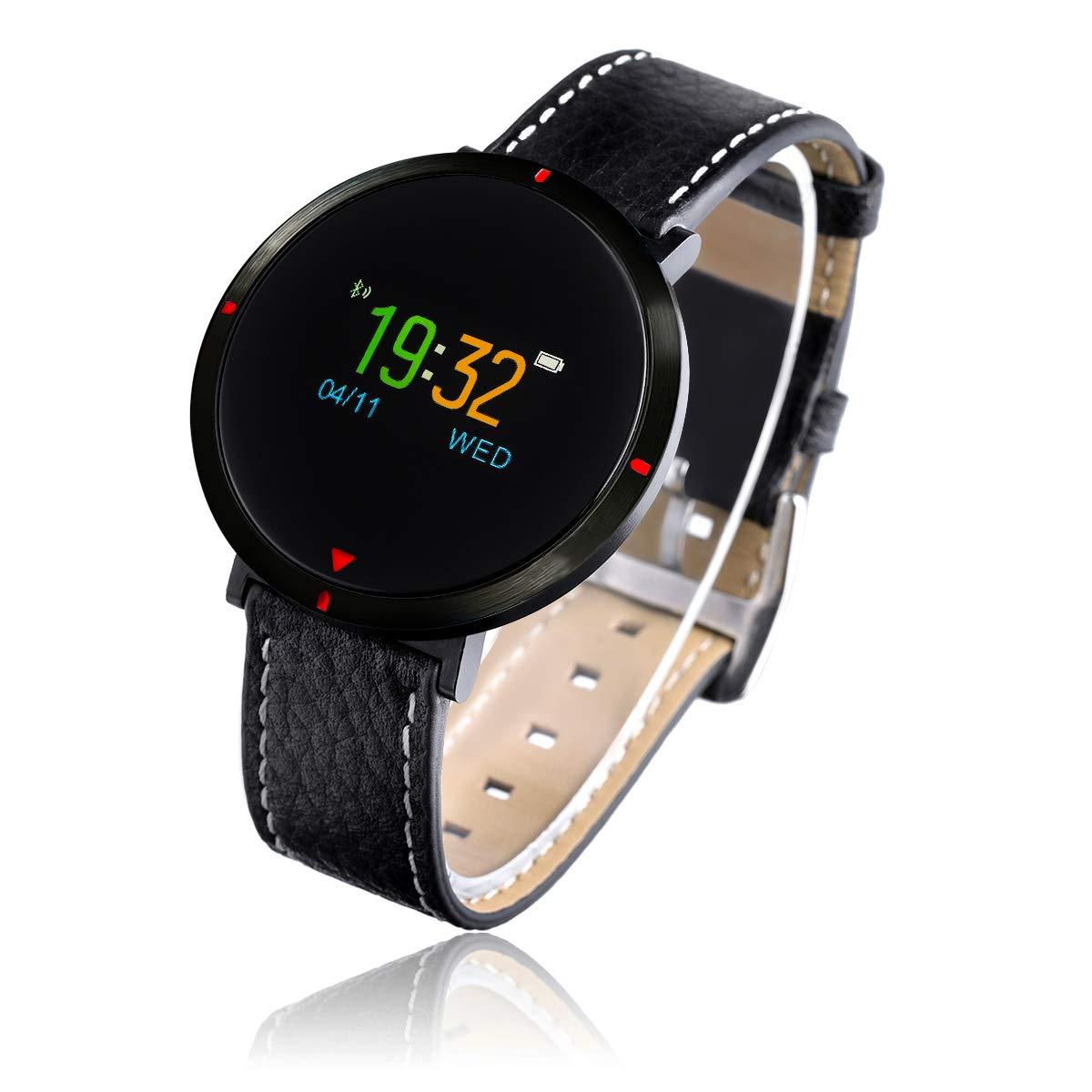 Smart Watch for Women, GOKOO S2 Girls Men Bluetooth Waterproof Leather Touchscreen Round Smartwatch with Heart Rate Blood Pressure Sleep Monitor Notifications for iPhones and Android Phones - Black