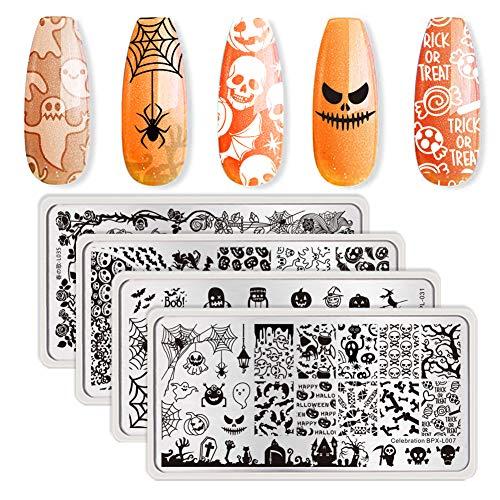 Pretty Halloween Nails (BORN PRETTY 4Pcs Nail Art Stamping Plates Halloween Pumpkin Ghost Skull Bat Templates Image Plates for manicuring DIY)