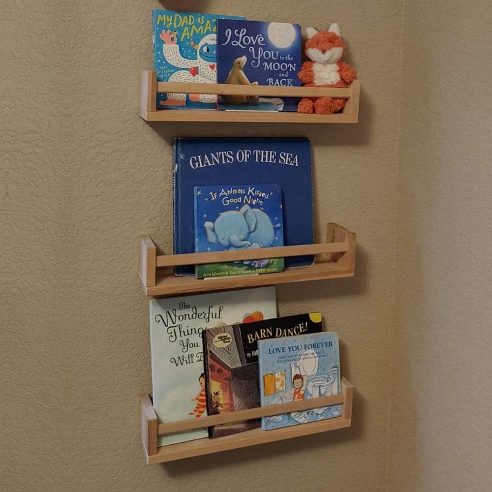 4 Pack Wood Wall Mount Nursery Bookshelf Floating Book Shelves Photos CDs Shelf for Kid's Room, Floating Wooden Spice Wall Mounted Rack for Kitchen