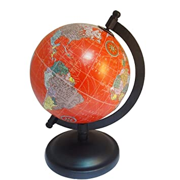 Amazon hand made world map desktop small rotating world earth hand made world map desktop small rotating world earth globe pink ocean 5 plastic ball gumiabroncs Images